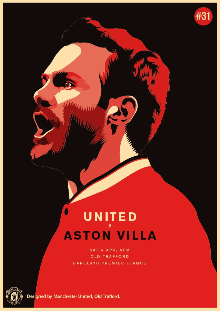 Match poster. Manchester United vs Aston Villa. 4 April 2015. Designed by @manutd.