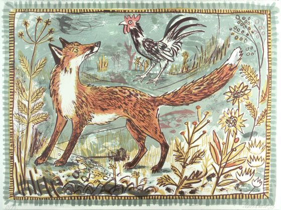 """Fox"" by Mark Hearld lithograph  St. Jude's specialising in British printmaking"
