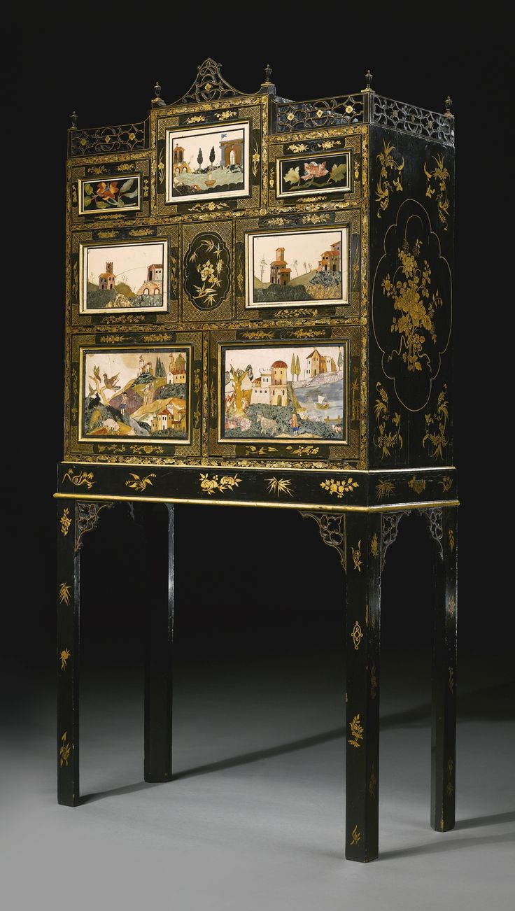 A fine and rare regency pietre dure mounted black japanned for Furniture 0 interest