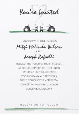 Cute Classic Tractor Wedding Invitation