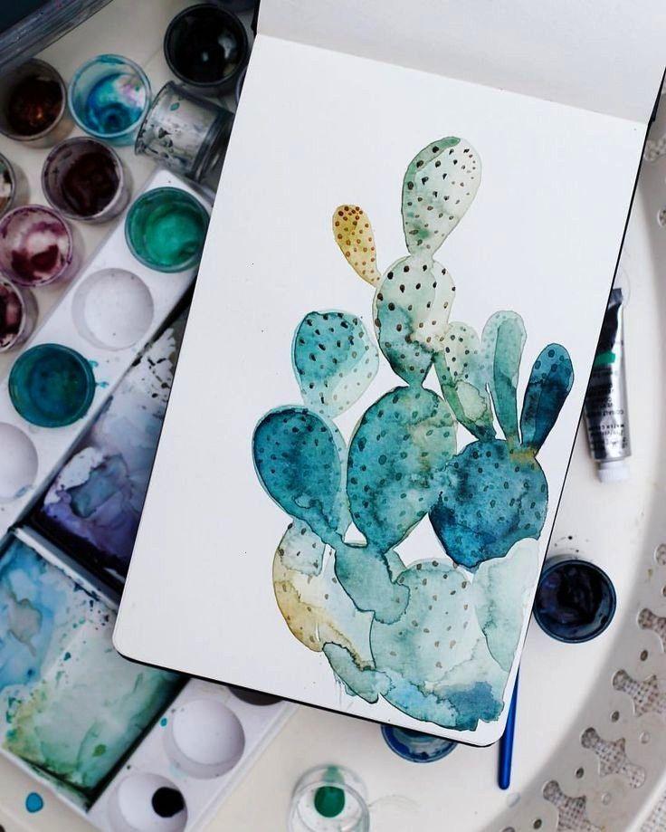 Aquarellmalerei Kurzportrat Aquarell Zeichnen Malerei Kaktus