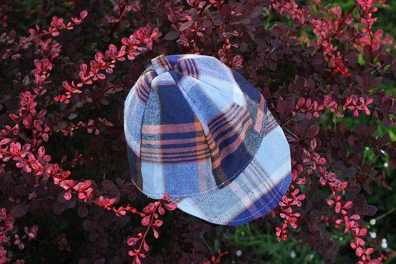 151b8517d New USSR Baby Cap / Navy Cotton Check Unworn Kids Sun Hat Handmade in Soviet  Union / Ukrainian Toddler Summer Jockey Cap --> Age 1 - 1,5 y.