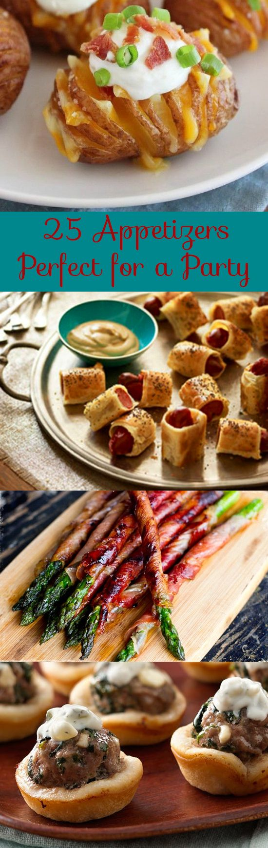 25 Appetizer Recipes Perfect for Parties | Looking for a new recipe to wow guests? Here's a collection of some of our favorites from prosciutto wrapped asparagus to potato bites to cranberry brie crostinis to chocolate dipped pretzel bites. There something for everyone! Click to view the collection and see the recipes.