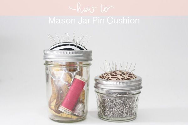 DIY mason jar pin cushion