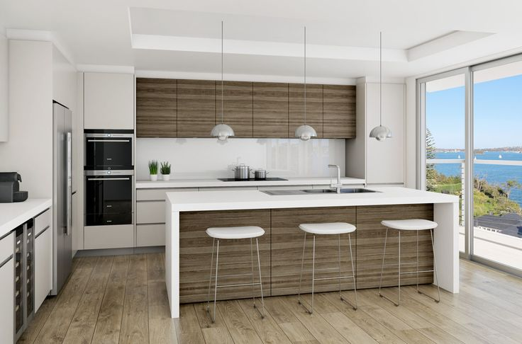Polyurethance colour is more of an almond colour that works well with colour of veneer and floor. Grey kick and finger pull shadow