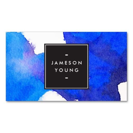Cool and Elegant Abstract Blue Watercolor Double-Sided Standard Business Cards (Pack Of 100)