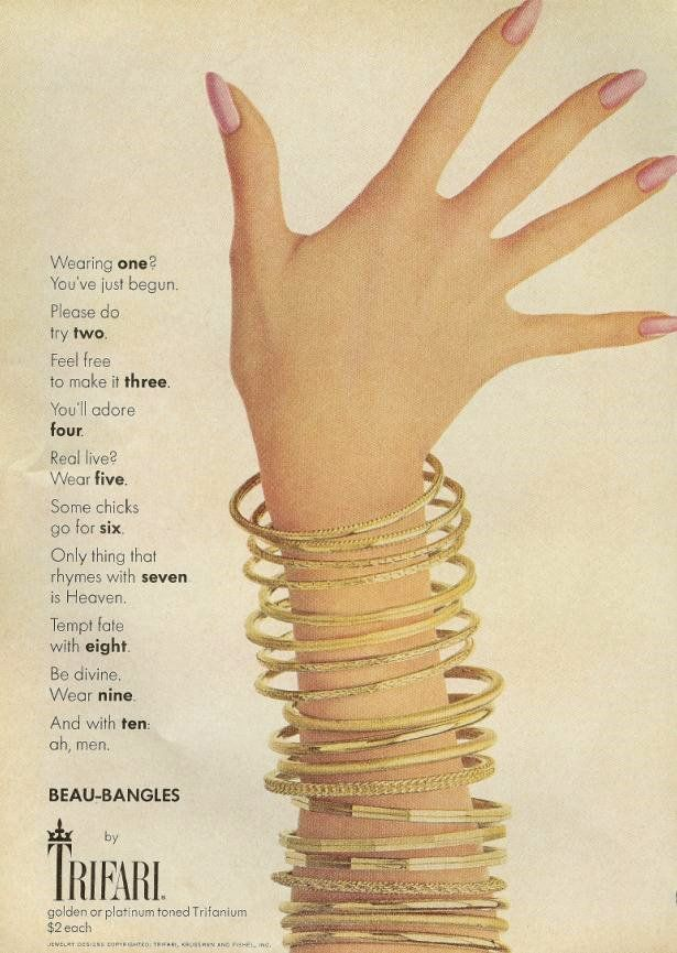 Trifari (1965) advertisement #MayisGoldMonth #MIGM #Gold #Bangles #Vintage #Bracelet #ThrowbackAd #YellowGold #GoldCollective