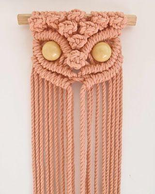 Mid way through knotting this peachy keen macrame owl by Tamara Maynes