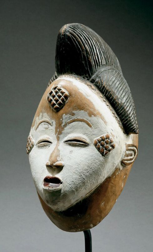 Africa | Mask from the Punu people of Gabon | Wood, black and white pigment
