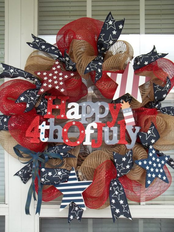 HAPPY 4th of JULY - Vintage Americana Patriotic Holiday Star Wreath Decoration