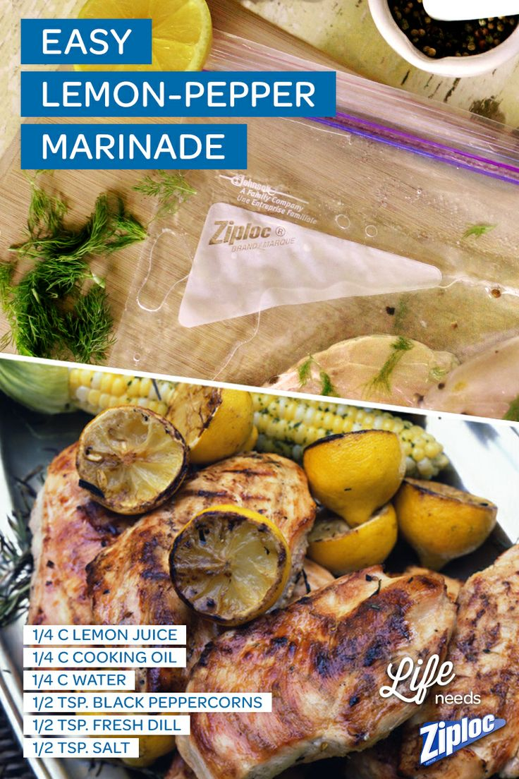 Simple, zesty marinade for summer grilling! Just mix lemon juice, cooking oil, water, peppercorn, dill, and salt in a Ziploc® bag. Then marinate chicken for a few hours before grilling for that extra kick of flavor. It's even better overnight!