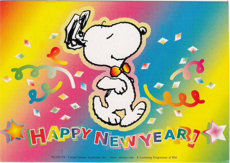 snoopy Happy New Year | 1PCS NEW Syndicate Lovely Dog Comic Cartoon Snoopy Happy New Year ...