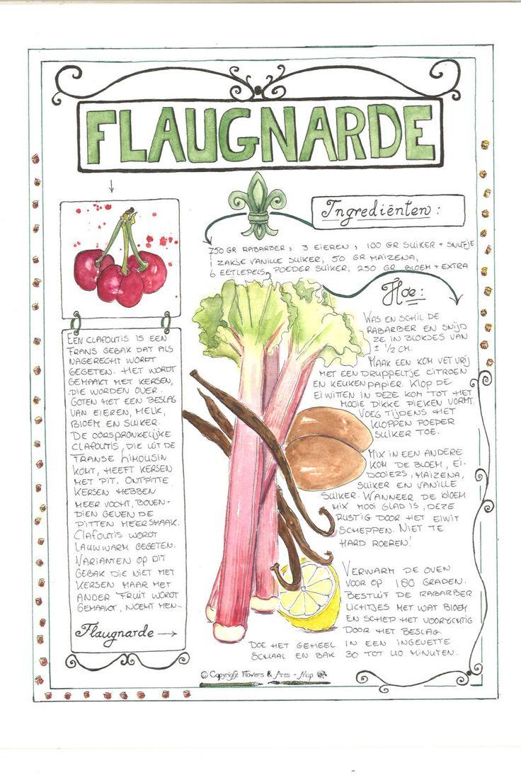 Recept Flaugnarde - Voor Landleven Magazine Originele aquarel door FlowersAndArts op Etsy