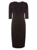Womens **Maternity Multi Coloured Striped Bodycon Dress- Multi Colour