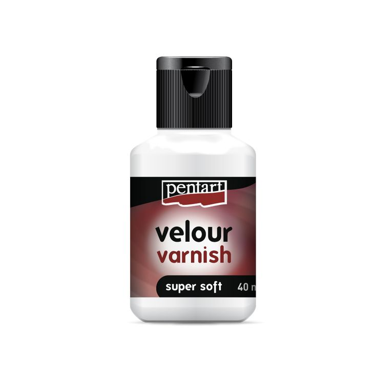 Velour varnish // Super soft tuch, translucent matte, water-based finishing varnish. Drop-proof. Should be applied in thin layer to any surface.