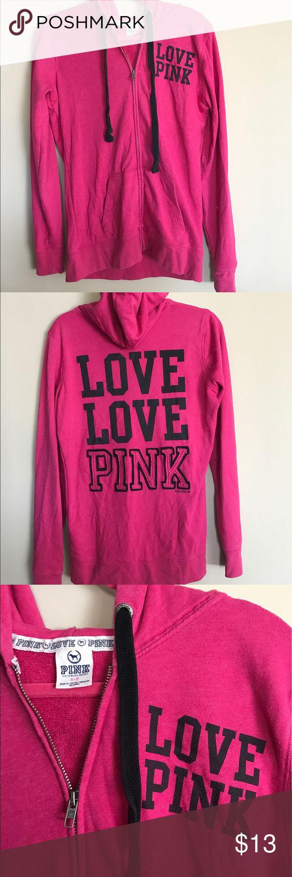 Hot pink, PINK zip up hoodie. Hot pink, Victoria's Secret PINK, zip up hoodie. Lightly worn. Has small bleach spot on left sleeve. PINK Victoria's Secret Tops Sweatshirts & Hoodies