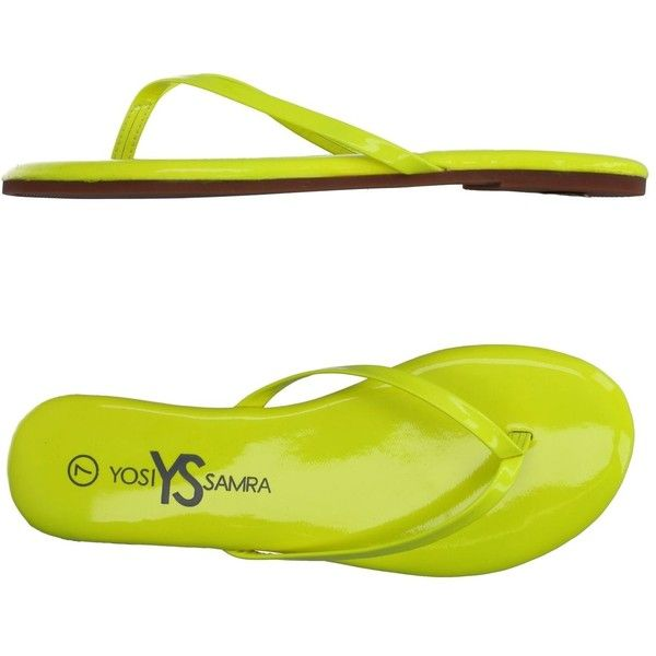Yosi Samra Toe Post Sandal (€25) ❤ liked on Polyvore featuring shoes, sandals, yellow, flat thong sandals, flat sandals, neon flat sandals, round cap and neon yellow shoes