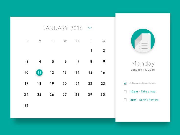 Dribbble - Calendar by Gary Wilkerson