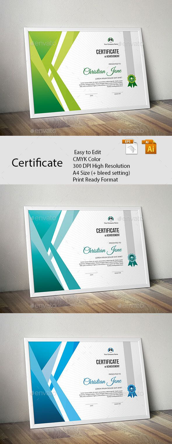 Certificate A GREAT CREATIVE CERTIFICATE TEMPLATE FOR CREATIVE PERSON. FEATURES:      Easy to Edit     CMYK Color     300 DPI High Resolution     A4 Size (+ bleed setting)     Print Ready Format     Free Fonts      FILES INCLUDES:     6 Ai & EPS files