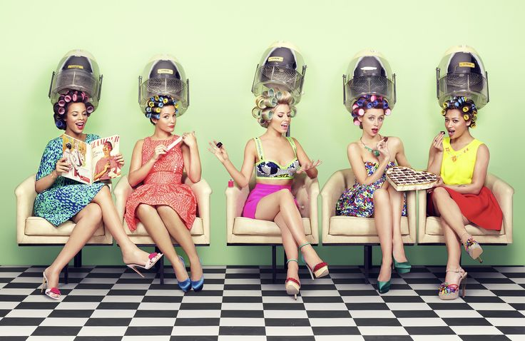 Retro hairdryer photo shoot