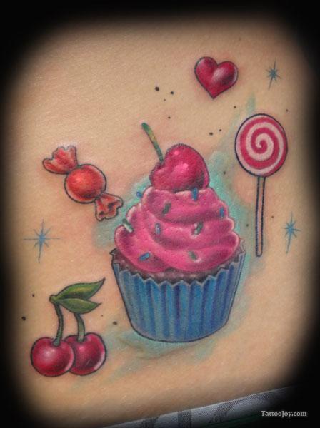 cupcake tattoos | Cupcake Cherries and Lollipop Tattoo