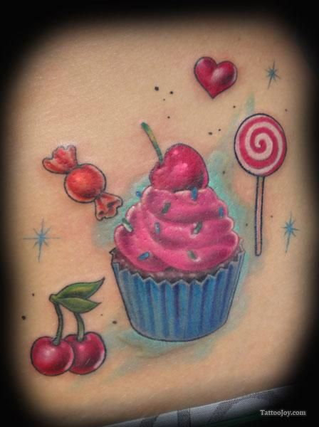 cupcake tattoos | Cupcake Cherries and Lollipop Tattoo