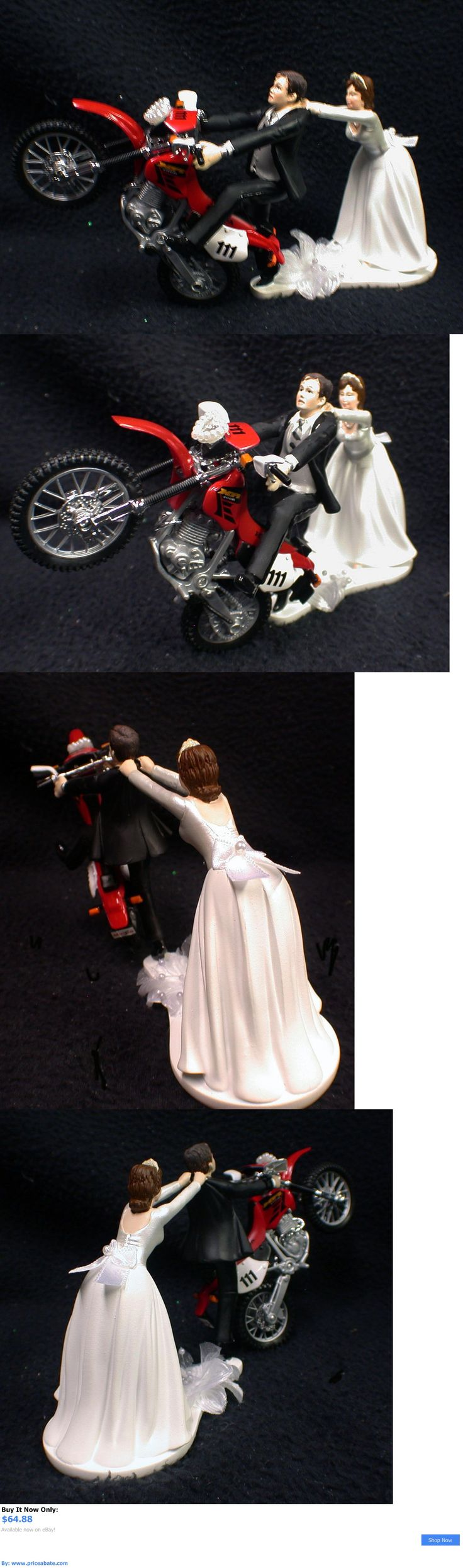 Wedding Cakes Toppers: Off Road Dirt Bike Motorcycle Wedding Cake Topper  Red Honda Racing Track