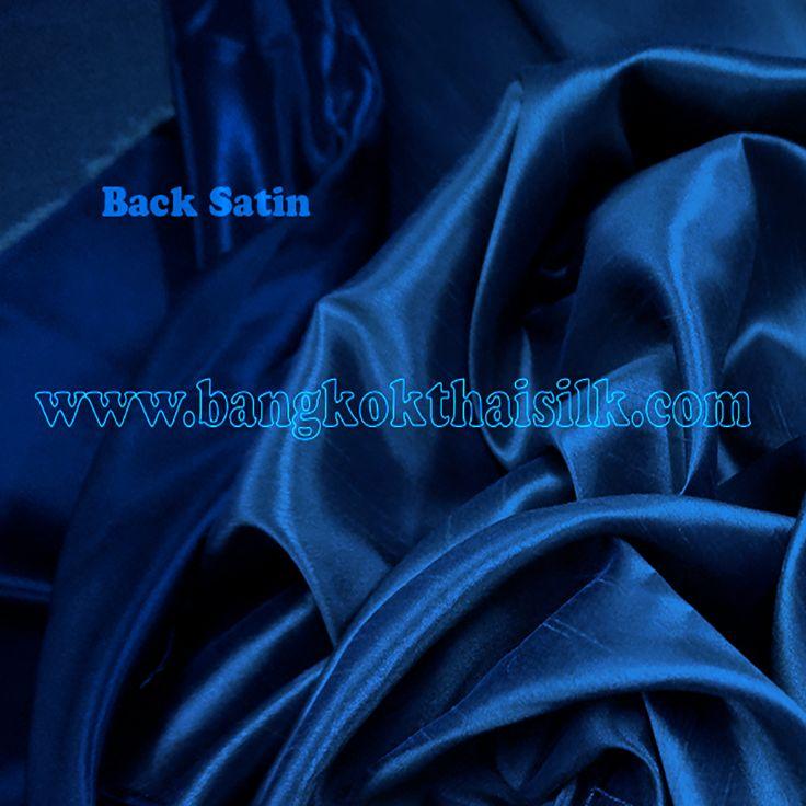 Heavy Silky Dupioni with Satin Back Fabric - Dark Blue - Bangkok Thai Silk