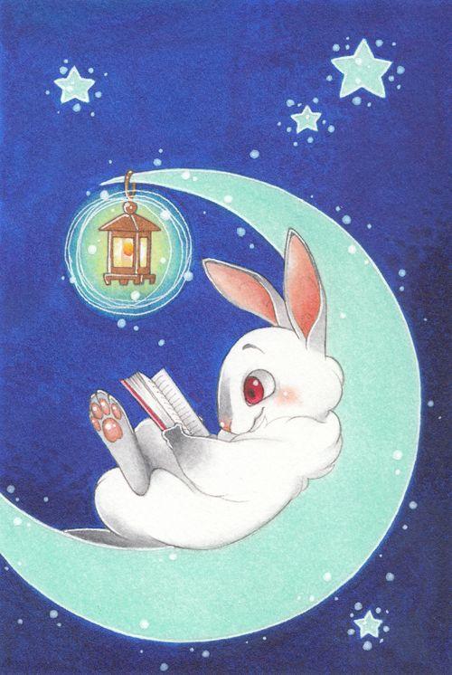 Заяц и луна картинки