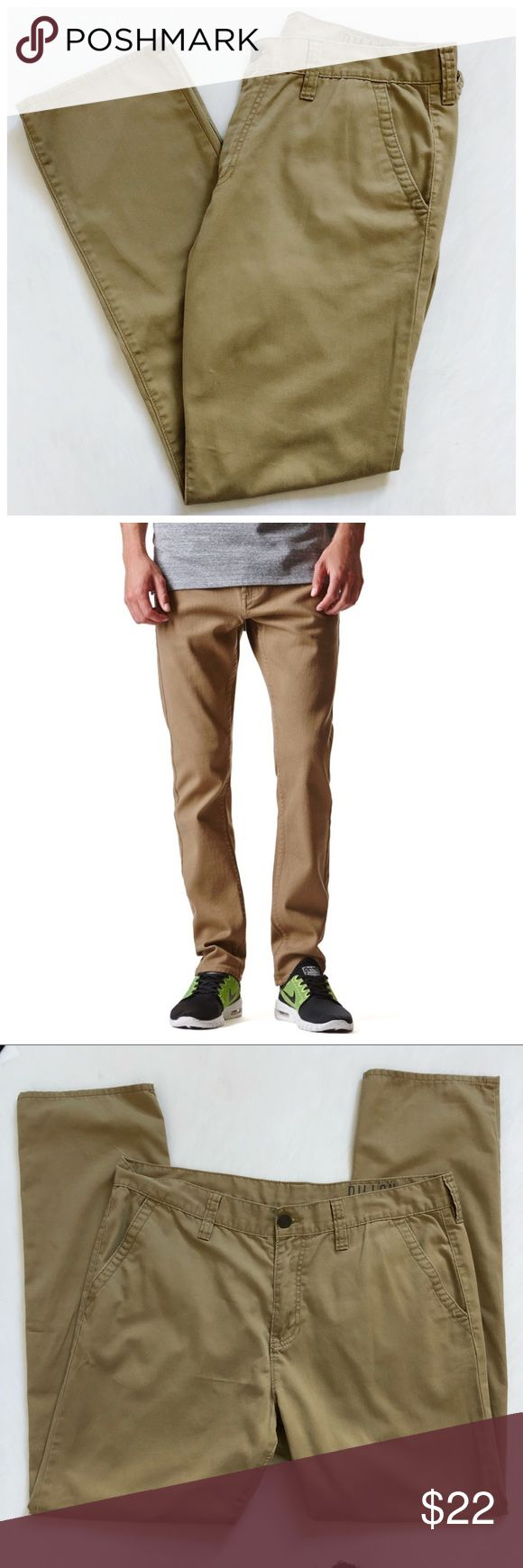 "Bullhead Dillon Skinny Khaki Pants Pacsun 36x32 Bullhead Dillon Skinny Khaki Pants from PacSun. Chino khaki pants in a skinny cut, front and back slash pockets. 69% cotton/41% polyester. Good used condition. No rips stains or holes. Waist 18"" (flat) Rise 12"" Inseam 31"". Photos are best descriptors. Perfect for work or play Bullhead Pants Chinos & Khakis"