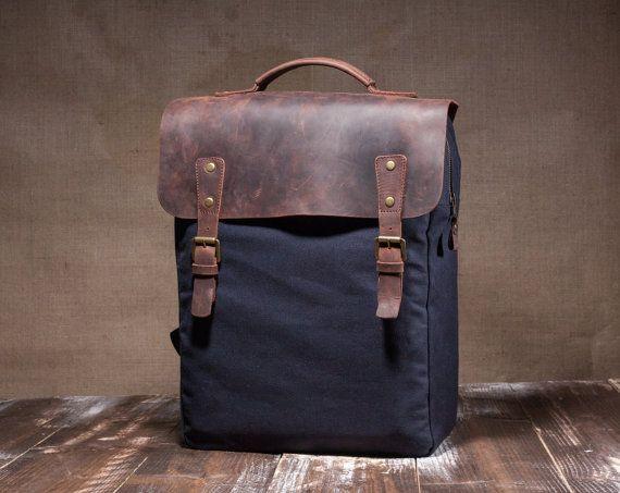 Canvas backpack men hipster backpack mens backpack by Tram21