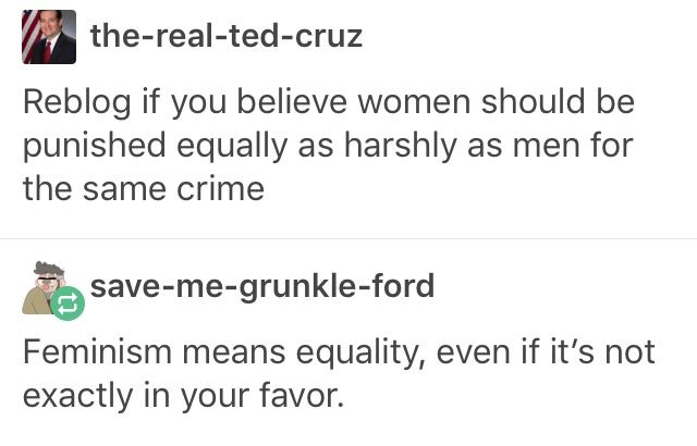 "Feminism is synonymous with equality. So what part of ""equality for EVERYONE"" are you not comprehending? Feminism seeks to destroy the ""princess pedestal"", that women are too ""kind"" to be an attacker. We WANT the punishment to fit the crime, regardless of gender. Again, equality for all"