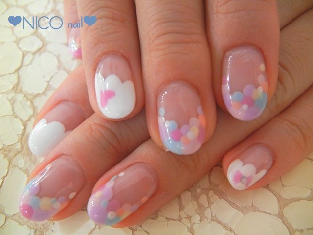 Pastel nails nail art,  Dots,  cloud,  Heart,  Valentine's Day manicure #dotticure