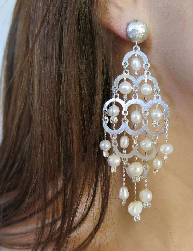 Breathtakingly stunning sterling silver earrings available with either sterling silver beads, freshwater pearls (pictured), or Swarovski crystals! Just $150 (AUD) from www.mhoriginals.com.au ❤️