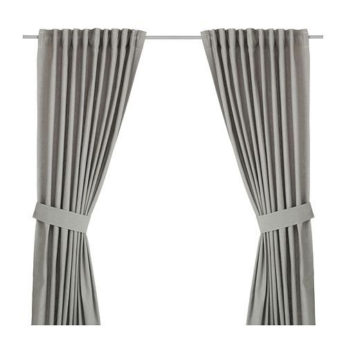 """IKEA - INGERT, Curtains with tie-backs, 1 pair, 57x98 """", , The curtains lower the general light level and provide privacy by preventing people outside from seeing directly into the room.</t><t>The curtains can be used on a curtain rod or a curtain track.</t><t>The heading tape makes it easy for you to create pleats using RIKTIG curtain hooks.</t><t>You can hang the curtains on a curtain rod through the hidden tabs or with rings and hooks."""
