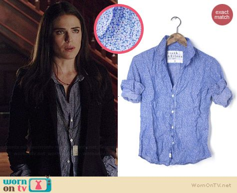 Laurel's blue floral crinkled shirt on How to Get Away with Murder.  Outfit Details: http://wornontv.net/38968/ #HTGAWM