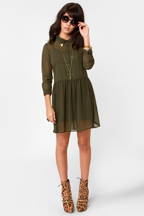 56a45c10c8 Tip of the Cap Olive Green Shirt Dress