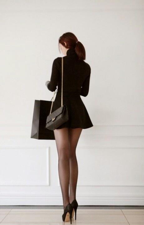 high heels skirt and legs concrete floors