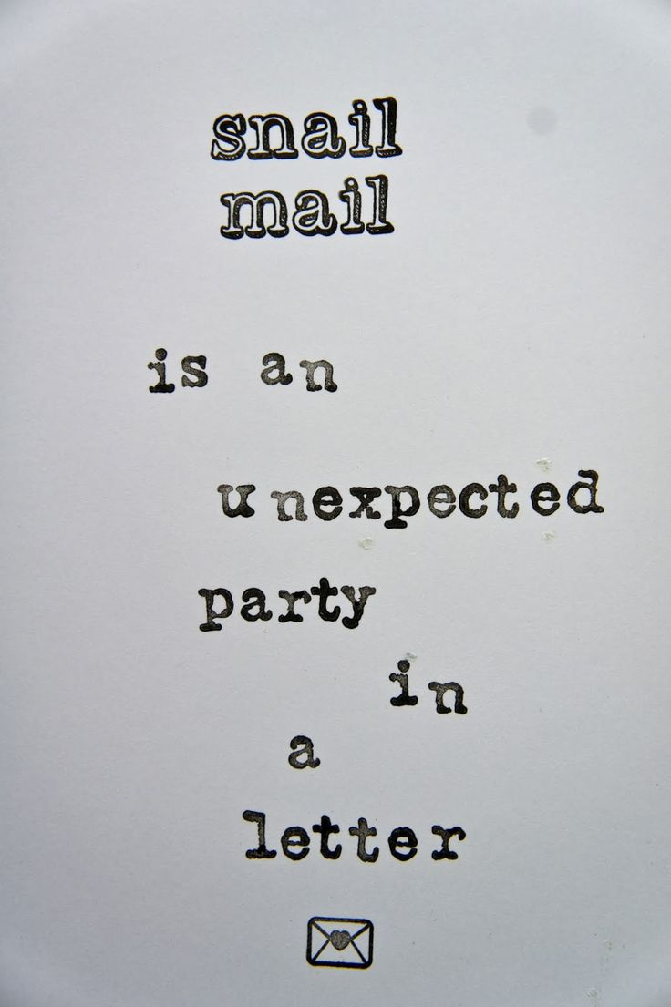 Snail Mail is an unexpected party in an envelope.