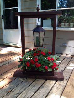 Image result for hanging basket wood stand