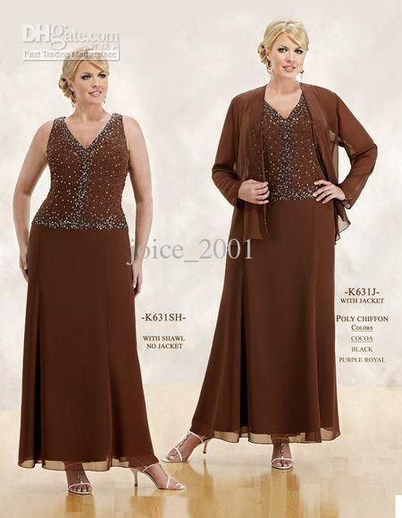 Wholesale plus size mother of the bride dresses beaed bodice brown evening gown with jacket M209, Free shipping, $140.0-156.8/Piece | DHgate