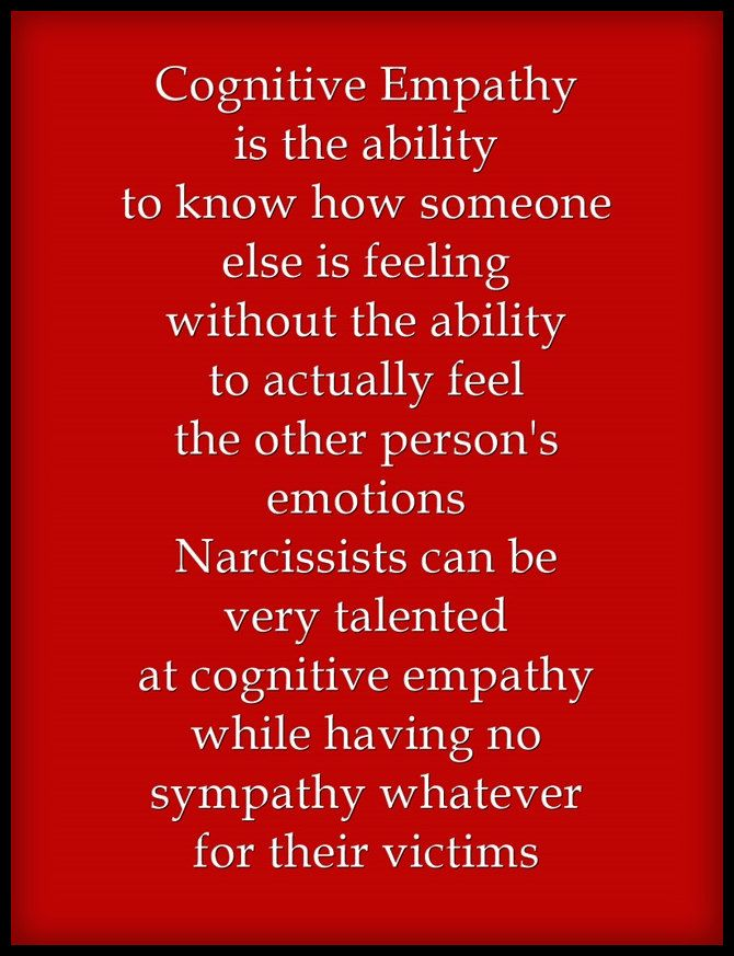 Because some narcissists have the ability to read the emotions of others they believe this make them an empath. Some will pretend to feel the emotions of others, but they don't. They don't know how to feel emotions, even their own. They do know how to fake emotions by imitating people who can actually feel them.