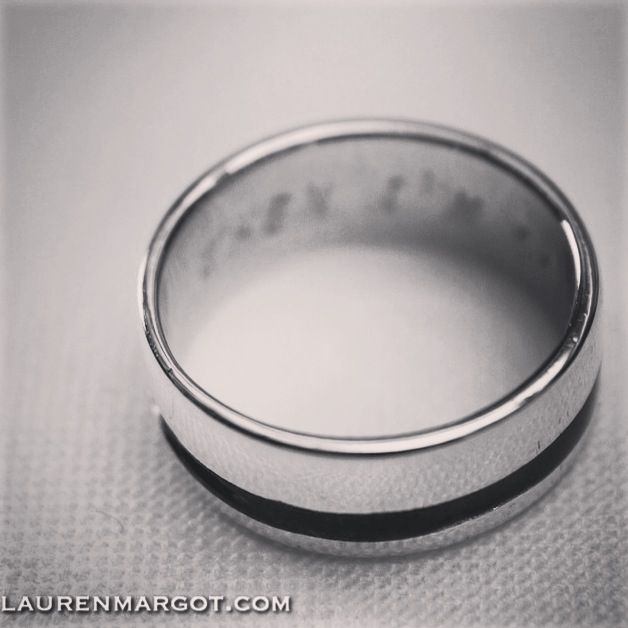 9ct White Gold enamelled strip Wedding Band. With custom engraved message inside.