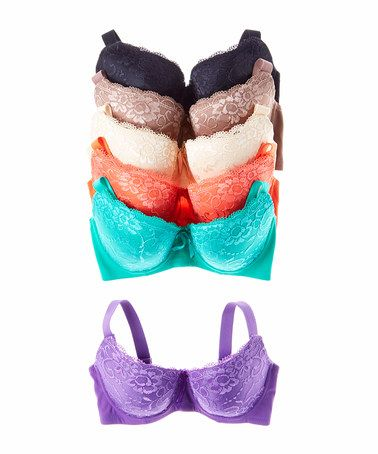 Take a look at this Turquoise Black & Purple Lace Push-Up Bra Set - Women & Plus on zulily today!