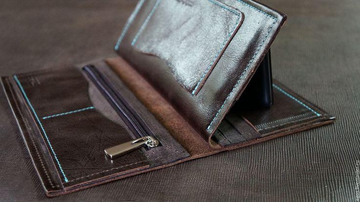Купить Мужское вертикальное портмоне из натуральной кожи - коричневый, вертикальное портмоне, мужское портмоне