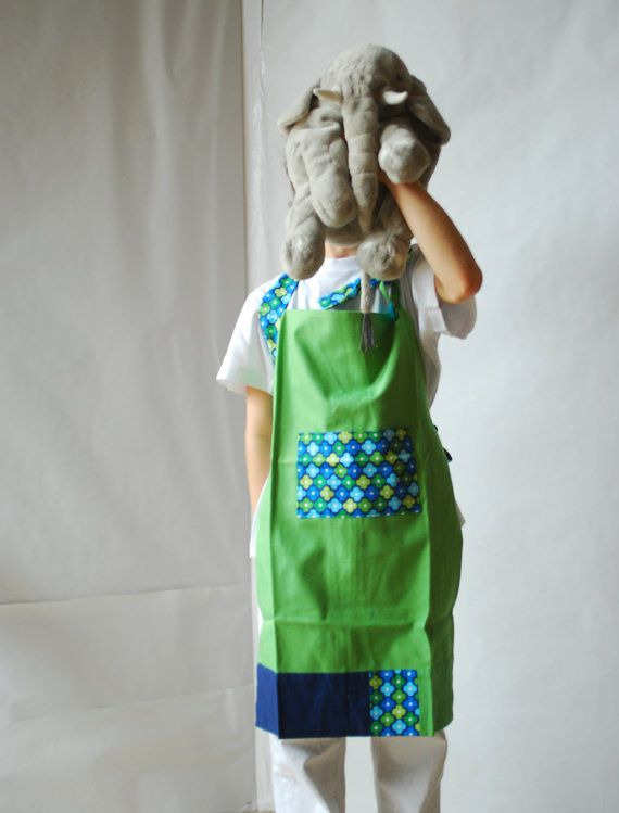 Floral apron for kids green full apron for children by robedalez, €21.00