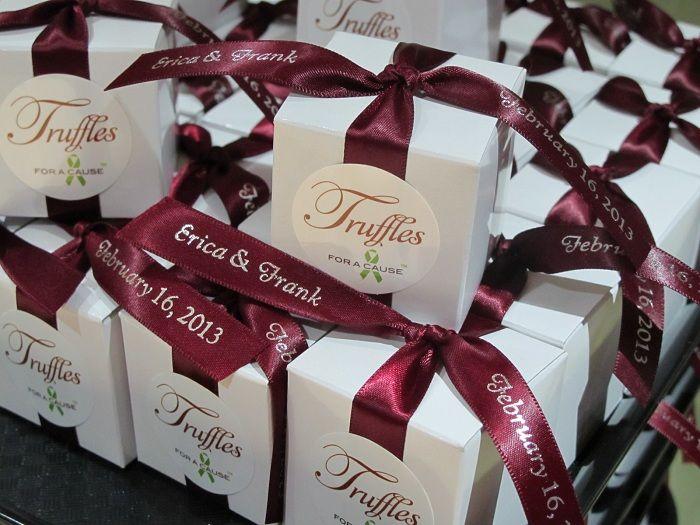 burgundy and champagne wedding   Chocolate wedding favors ...
