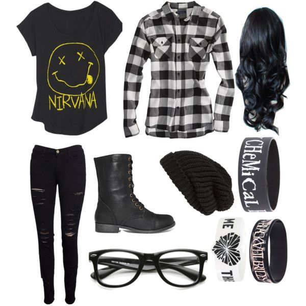 """""""That's So Punk Rock of You."""" by mikaykayt on Polyvore                                  Okay I can really wear this outfit close enough. I have the exact flannel shirt, I have a nirvana shirt like that, and I have black jeans :)"""