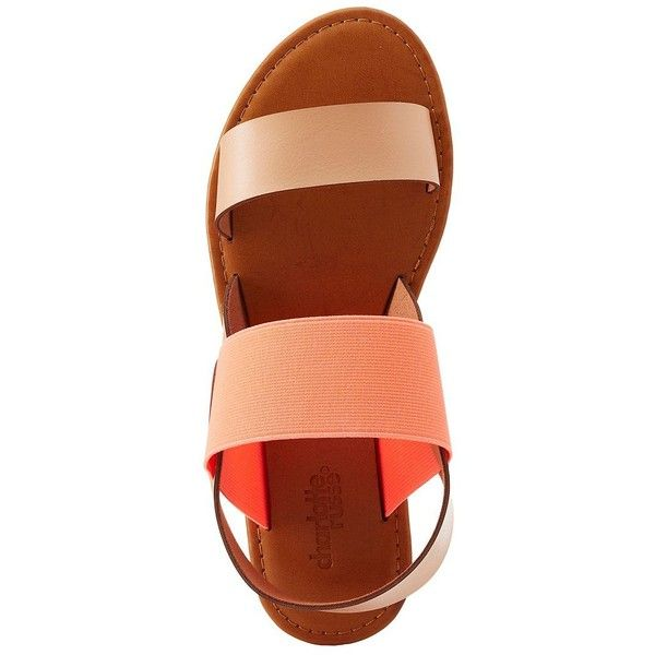 Charlotte Russe Colorblock Two-Band Slingback Sandals ($15) ❤ liked on Polyvore featuring shoes, sandals, coral, flat shoes, flat strap sandals, cushioned sandals, braided sandals and strap sandals