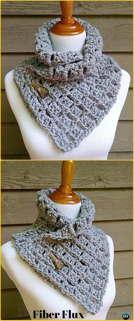 Crochet Margaret Button Cowl Free Pattern - Crochet Infinity Scarf Free Patterns
